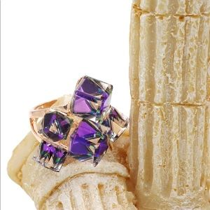 Ocean Fashion Jewelry - Square candy crystal rose gold purple ring